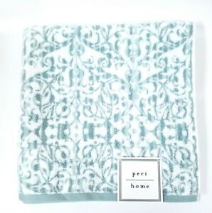 NEW PERI HOME TEAL BLUE,WHITE SWIRL 100% COTTON BATH TOWEL