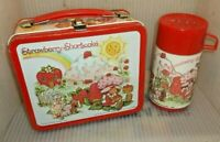 RARE 1980 Strawberry Shortcake Metal Lunch Box & Thermos Cool Lunchbox Set!