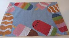 Spring Summer Tapestry Placemat Blue Popsicles Ice Cream Stripes Watermelon NEW