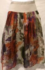 Anthropologie EDME ESYLLTE Silk Skirt Watercolor 1952 Full Pleated Sz 4 Women's