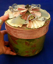 Pre-owned Tracy Porter Xmas (or not) Flower Box Pink Velvet Ribbon, Shabby Style