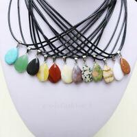 LOTS 30 PCS Natural Stone Solid Drop Pendant Necklace Wholesale US Store