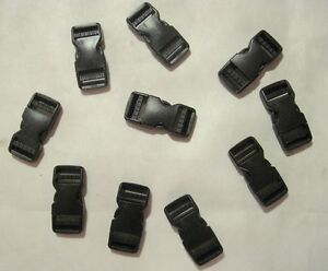 """High Quality 1"""" Fastex Side Release Buckle Black (10 Sets)"""