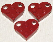LEGO LOT OF 3 DARK RED VALENTINES DAY HEART LOVE TOKENS CHARM NECKLACE PIECE