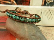 WRAP LEATHER BRACELET 8 inch African turquoise Czech BEADS Jaybo Baby Elephant