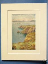 BAY OF DUBLIN FROM HOWTH CLIFFS LEINSTER RARE VINTAGE DOUBLE MOUNTED PRINT c1920