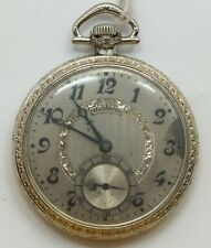 Illinois 12 Size Time King White Art Deco 17 Jewel 1923 Pocket Watch Runs LW164