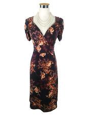 LEONA EDMISTON Dress - Vintage Style Floral Wrap Stretch Ruched Purple Orange- 8