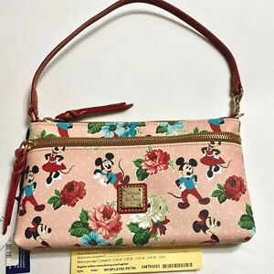 NWT Dooney & Bourke Disney Parks Mickey & Minnie Mouse Floral Pouch Purse Bag A