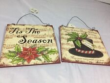 Cypress Home Happy Holidays Wooden Wall Signs Set Of 2 Tis The Season