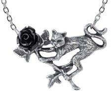 ALCHEMY CAT BLACK ROSE PENDANT Rosenkatze Gothic Necklace + Free Velvet Pouch
