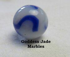 "Antique Alley Agate White Based Blue Swirl 21/32"" Goddess Jade Marbles"