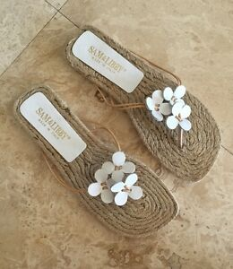 SAM & LIBBY Cute White Leather Floral Detail Flat Espadrille Sandals Italy 6