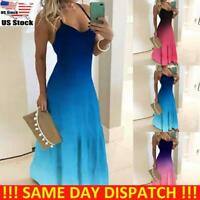 Womens Summer Boho Holiday Casual Long Sling Dress Party Maxi Strappy Sundress