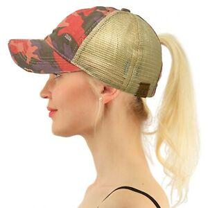C.C Ponytail Messy Buns Ponycaps Baseball Visor Cap Dad Hat Camouflage Coral Mix