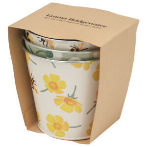 Emma Bridgewater Flower Pots Buttercup & Bee Design Plant Pots Set of 3 Metal