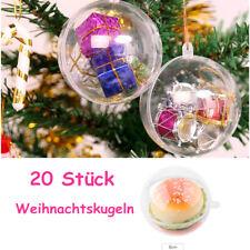 Weihnachtskugeln Acrylkugeln 12 Stück Ø 8cm Kunststoff teilbar mit Aufhängeöse