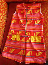 sz 7 True Vtg 70s Girls  Ring Zipper one Piece Aztec Hippy Miniskirt Dress