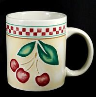 Gibson Cherries Coffee Mug Tan Red Checks Checked Border Large Gift Idea 3.75 in