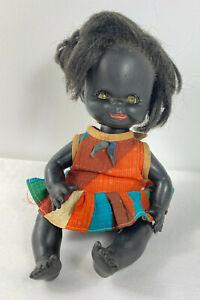 Vintage Black Aboriginal Rubber Doll Rare Sleeping Eyes