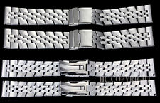 Silver High Quality Alloy Steel Men's Watch Straight End Band Strap 22mm-24mm