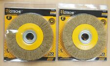 2PC 8'' Crimped Wire Wheel Brush 1'' Thick Deburring Bench Grinder