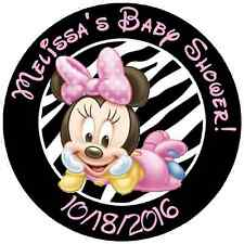 24 ZEBRA PRINT BABY MINNIE PERSONALIZED BABY SHOWER STICKERS FAVORS LABELS ROUND