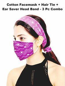 Ear Saver Cotton Face Mask + Head Band + Hand Band 3 Piece Set Reusable Washable