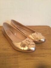 Gold Ballet Ladies Shoes Pumps - Fabulous Footwear By George Size 7 Uk / 41 Vgc