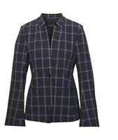 $178 BANANA REPUBLIC Women Blazer Jacket Long Windowpane Navy Blue White Size 10