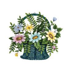 3D Flower Basket Metal Wall Art Spring Blooms Leaves Pastel Flowers Wall Decor