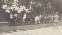 LARGE VICTORIAN FAMILY PHOTO GATHERING - Early 1900's * Large Horse Wagon