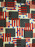Patriotic Abstract Flags & Stars on Natural Background - 100% Cotton Fabric BTY
