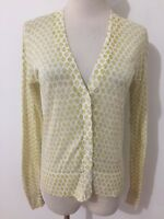 Ann Taylor LOFT Cardigan Sweater Semi-Sheer White & Mustard Floral Size XS