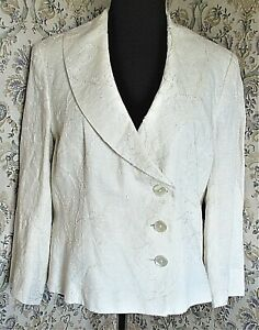 Cream linen rich jacket by KALIKO Size 16-18 Embroidered floral
