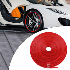 26FT Red Rubber Car Wheel Hub Rim Trim Tire Ring Guard Strip Protector Decor 1PC
