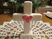 MSC Collection - White with Pink and Red  Love Scripture Cross  1 Corinthians 13