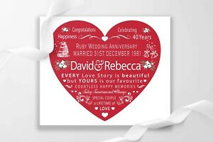 Personalised 40th Ruby Wedding Anniversary Parents Canvas Print Present Gift UK