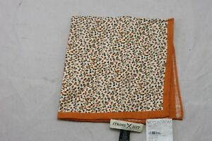 Strong Suit Clothing Apricot and Brown Vines Pocket Square $49.50