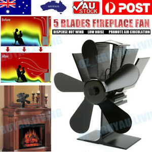 Heat Self-Powered Fan Wood Stove Top Burner Fireplace Silent Eco Heater 5 Blade