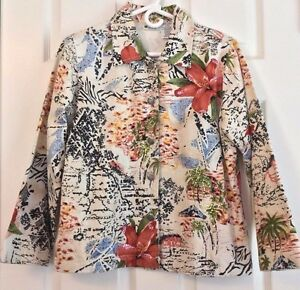Units Embellished Jacket Tropical Floral Flower Cotton Button Front Petite Small