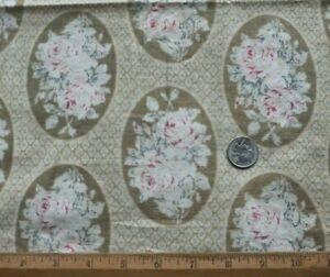 """Faded Antique Rose Medallion Printed Cotton Fabric~L-33""""  X W-16"""""""
