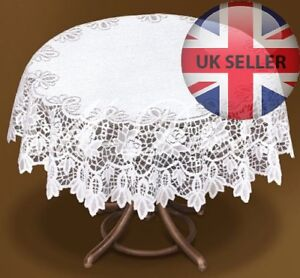 """Tablecloth round white lace NEW Ø 150cm (59"""") perfect Xmas gift"""