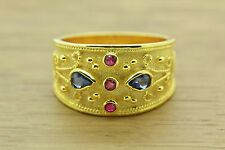 Byzantine Band Cz Ring Sterling Silver 22K Yellow Gold Plated Sapphire Ruby