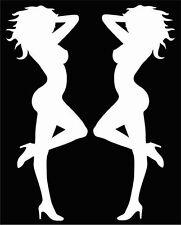 "MUD FLAP STANDING GIRLS, MEDIUM SIZE, approx. 4""x 10"" ea. white vinyl decals"