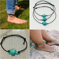 Beach Simple Leisure Turquoise Turtle Animals Pendant Anklets Chain Jewelry Gift
