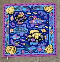 "Ken Done 1985 24x24"" Pink Blue Yellow Ocean Fish Print Scarf Made In Japan EUC"