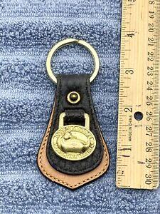 Vintage Dooney & Bourke All Weather Leather Duck Key Chain Dark Blue Brown Gold