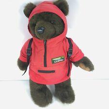 """Vintage LL Bean Brown Teddy Bear Plush Red Hoodie Jacket 16"""""""