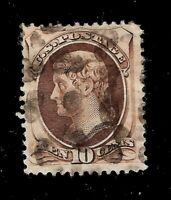 US - Sc# 161 - 10 c Brown Jefferson Used - Light  Cancel - Crisp Color